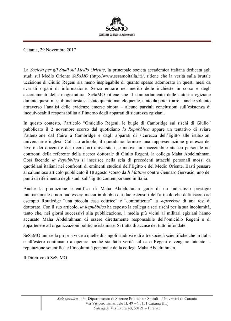 Microsoft Word - Comunicato SeSaMO_29 Novembre.doc